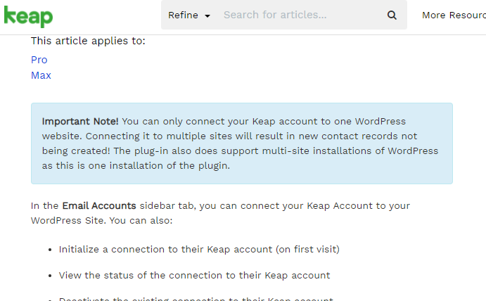 WP and Keap with one site